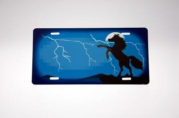 Stejlende hest lyn skilt