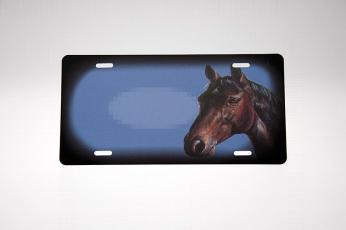 Brunt hestehoved blå skilt